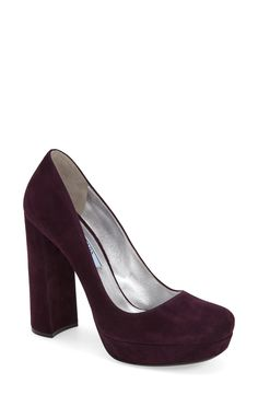 "Prada Chunky Heel Pump (Women) <-- okay another ""Wine"" colored ""red"" but passes."