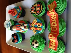 Ty would love this Fondant Toppers, Fondant Cakes, Cupcake Cakes, Cupcake Ideas, Cute Cupcakes, Baking Cupcakes, Football Cupcakes, Soccer Theme, Dinosaur Cake