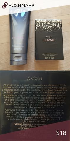 Avon Femme body lotion and eau de parfum spray Avon Femme Body Lotion and Eau de Parfum spray- described as smelling of jasmine petals, stunning magnolia, and radiant amber woods. Includes limited edition Avon Femme ring Avon Makeup Brushes & Tools