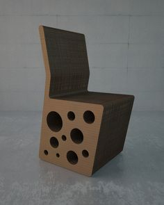 Cheese cardboard chair and bar stool by Konstantin Achkov, via Behance