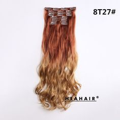 Heahair 8T27 Ombre Dip-dye Color Light Ash Brown to Light Auburn Synthetic Curly 8 Pieces For a Full Head Clip in Hair Extensions ** This is an Amazon Affiliate link. For more information, visit image link.