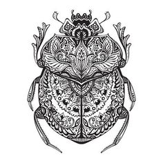 bug: Black and white  stylized scarab. Doodle ethnic patterned bug. African, egyptian totem.  Sketch for tattoo, poster, print or t-shirt Illustration