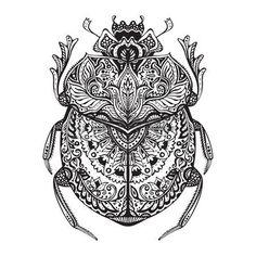 tatouage egypt: Scarabée stylisé noir et blanc. Doodle bug ethnique motifs. Africaine, totem égyptien. Esquisse pour tatouage, affiches, impression ou t-shirt