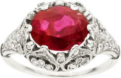 Edwardian Burmese Ruby, Diamond, Platinum Ring