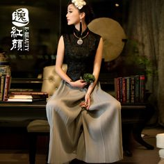 Chinese fashion and styles. Sleeveless Qipao Style Lace Shirt - Black - Chinese Shirts & Blouses - Women