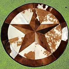 Amazon.com: High Quality Cowhide Rug Leather Cow Hide Steer Patchwork Area Round Carpet Cowskin Rugs - Orientals Egyptian: Kitchen & Dining