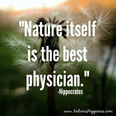 """""""Nature itself is the best physician."""" -Hippocrates  www.NaturesHappiness.com"""