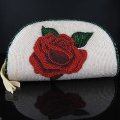Native American Beadwork  Reversible Rose Beaded Coin Purse from www.wacici.com