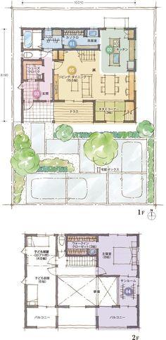 間取り Japanese House, House Layouts, Tiny Living, Interior And Exterior, My House, House Plans, Furniture Design, New Homes, Floor Plans