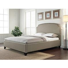 Zinus Upholstered Button Tufted Platform Bed with Headboard and Wooden Slats…