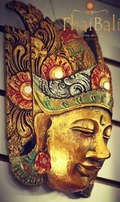 Máscara Topeng Bali Dourada - ThaiBali - Arte, Chá e Boas Vibrações