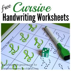 Free Cursive Handwriting Worksheets - square
