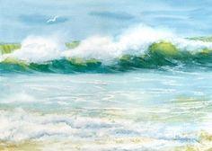 Impresión de giclee de marino visitante playa onda con Gaviota
