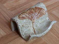 Business Card Holder with GINGKO Leaf Stoneware by LisaMelitaArt, $11.00