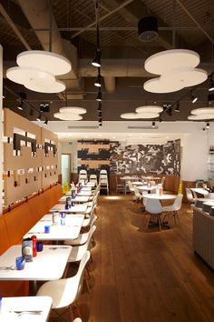 Acoustic products installed at Pizza Express. RPG Products: Ceiling - Fabric…
