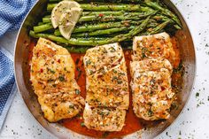 Garlic Butter Cod with Lemon Asparagus Skillet – Healthy Fish Recipe — Eatwel. Salmon Recipes, Fish Recipes, Seafood Recipes, Chicken Recipes, Dinner Recipes, Cooking Recipes, Recipe Chicken, Chicken Pasta, Broccoli Chicken