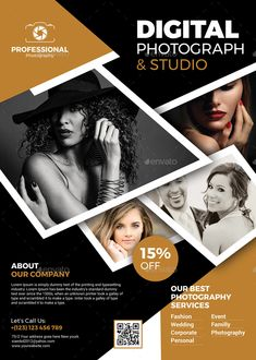 Buy Photography Flyer Templates by themexone on GraphicRiver. This is a Professional, Clean and Modern Photography Flyer Templates. Graphic Design Flyer, Event Poster Design, Brochure Design, Flyer Design, Brochure Examples, Photography Brochure, Photography Templates, Advertising Photography, Advertising Flyers