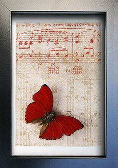 Vintage Music Paper With Red Heart Real by ButterfliesArtist