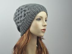 Hand-knit hat  Wool Beanie Hat in Charcoal by MaxMelody