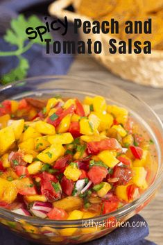 Bursting with color, spiced with green chiles, red onion, and cilantro, and tangy sweet with honey and lime, this peach and tomato salsa livens up everything you pair with it! #peach #tomato #salsa #lettyskitchen #recipe Raw Vegan Recipes, Dairy Free Recipes, Vegetarian Recipes, Healthy Recipes, Vegetarian Mexican, Gluten Free, Dip Recipes, Healthy Meals, Health Meal Prep