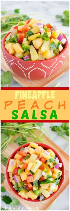 Pineapple Peach Salsa - this sweet and spicy salsa is perfect for salads, grilled chicken or fish, and tacos. Great dinner recipe!