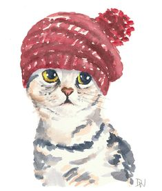 Cat Watercolor Original Painting Knit Hat by WaterInMyPaint