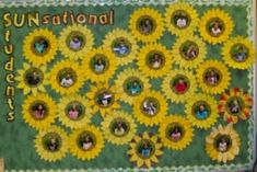"Bright Bulletin Board to start the year with! Sunflowers with student ""I am"" statements on each petal. A GREAT display for Open House or Parent/Teacher conferences! Summer Bulletin Boards, Preschool Bulletin Boards, Classroom Bulletin Boards, Classroom Door, Preschool Classroom, Future Classroom, Kindergarten, Classroom Decor Themes, School Decorations"