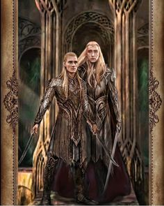 Thranduil and his son Legolas are not Silvan Elves, they are Sindar Elves, one can tell them apart from the colour of their hair, Legolas and Thranduil have more Silver-Blonde hair, while the Silvan Elves have hair according to the colours of Autumn. Legolas Und Thranduil, Tauriel, Lee Pace Thranduil, Legolas Father, Mirkwood Elves, Lotr Elves, Jrr Tolkien, Tattoo Guerreiro, Lord Of Rings