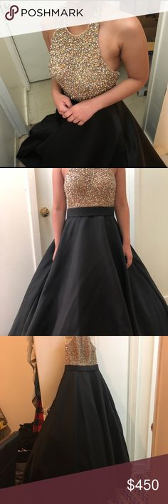 Jovani 21667 black and gold prom dress Black Haltet A-line prom dress with gold. Size 4 but can fit anyone whose waist isn't too big. Worn once bought for 850 feel free to dm and ask for more pictures. Price is negotiable Jovani Dresses Prom