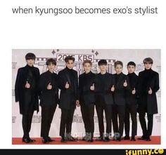 lol exo funny joke d.o kyungsoo funny meme Exo Ot12, Kaisoo, Kyungsoo, Xiuchen, Exo Memes, Park Chanyeol, K Idols, Pop Group, Shinee