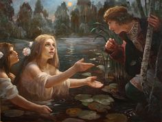 Mermaids ~ contemporary Russian painter Andrey Alekseevich Shishkin, who specializes in Slavic mythology and history Russian Painting, Russian Art, Russian Image, Russian Mythology, Collage Drawing, Mermaid Art, Medieval Fantasy, Paintings For Sale, Beautiful Paintings