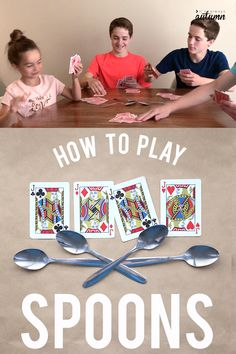 games Have bored kids? Teach them how to play SPOONS! The spoons game is super easy to learn and so much fun. Perfect for large or small groups, and great fun at family get togethers. Family Card Games, Fun Card Games, Card Games For Kids, Games With Cards, Best Family Games, Christmas Family Games, Party Games For Adults, Kids Party Games Indoor, Group Card Games