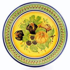 X605/B-FFG - FRUTTA FONDO GIALLO: Tuscan Fruits Wall Plate (16D.)
