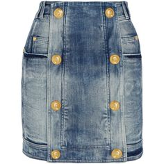 Balmain Distressed stretch-denim mini skirt ($1,320) ❤ liked on Polyvore featuring skirts, mini skirts, bottoms, balmain, denim, short blue skirt, short mini skirts, stretch denim skirt and mini skirt