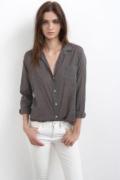 VELVET By Graham & Spencer Thomasina Sheer Button Up Shirt Grey XS $148 #VelvetbyGrahamSpencer #ButtonDownShirt #Casual