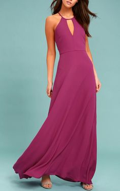 Catch everyone's attention as you glide on to the dance floor in the Beauty and Grace Magenta Maxi Dress! A high neckline with a keyhole cutout tops this lovely maxi dress.
