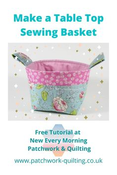 How to make a fun little basket from small pieces of fabric. Ideal for keeping sewing notions safe and in one place. Fabric Basket Tutorial, Hand Sewing Projects, Sofa Cushions, Make A Table, Pouch Pattern, Left And Right Handed, Sewing Baskets, My Sewing Room, English Paper Piecing