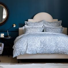 Dwell Studio Sonia Floral Marine Duvet Set duvet-covers-and-duvet-sets Home Modern, Modern Decor, Modern Furniture, Modern Contemporary, Blue Bedroom, Dream Bedroom, Bedroom Decor, Bedroom Ideas, Bed Sets
