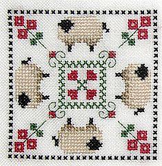 sheepies! #Biscornu Inspiration #Cross-stitch