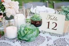 Moroccan Inspired Table-Style Me Pretty Cactus Wedding, Wedding Flowers, Succulent Table Decor, Cabbage Flowers, Wedding Decorations, Table Decorations, Candle Set, Floral Arrangements, Centerpieces