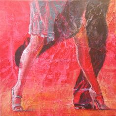High Stepping I, by Shirley Mancino, 12 x 12 in, collage
