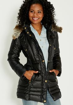 puffer jacket with faux fur lined hood in black - #maurices