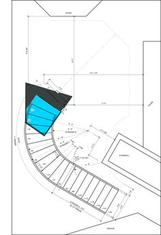 Steel Curved Stair Plan Stone or Concrete Bottom Stairs