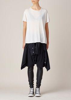 R13 Vedder Leather Short (Black Chambray)
