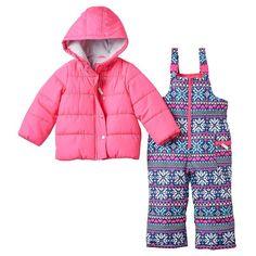 e4dd11b8c Toddler Girl Carter's Solid Puffer Jacket & Fairisle Bib Snow Pants  Snowsuit Set, ...