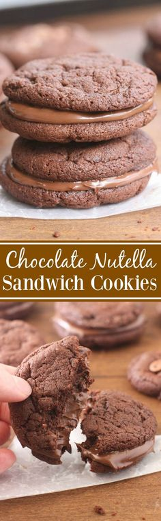Thick and chewy chocolate Nutella cookies sandwich cookies sandwiched with Nutella in the center. These Chocolate Nutella Sandwich are the BEST! | Tastes Better From Scratch