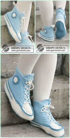 Crochet Adult Sneaker Slipper Free Pattern -  Crochet Women Slippers Free Patterns Crochet Boots, Crochet Clothes, Knit Crochet, Crochet Granny, Crotchet, Knitted Slippers, Slipper Socks, Crochet Slipper Pattern, Knit Slippers Free Pattern