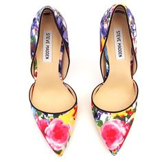 "Steve Madden Satin Floral d'Orsay Pump Steve Madden Satin Floral d'Orsay Pump. 4.5"" Stiletto Heel. Synthetic Sole. So Perfect for Spring/Summer! Brand New w/Box. **First 3 pics were taken by me and are of the actual shoes for sale** Steve Madden Shoes Heels"