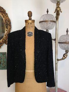 Vintage 1950s Helft's Beaded Blazer / Black by WhynaughtShop