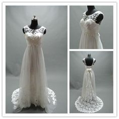 Any woman who is pregnant and looking for sheer neckline wedding dresses will like this sleeveless option. It is good for plus size brides as well. Wedding Dress Necklines, Dresses To Wear To A Wedding, Colored Wedding Dresses, Plus Size Brides, Plus Size Wedding, Pregnant Wedding Dress, Maternity Wedding, Maternity Style, Design Textile